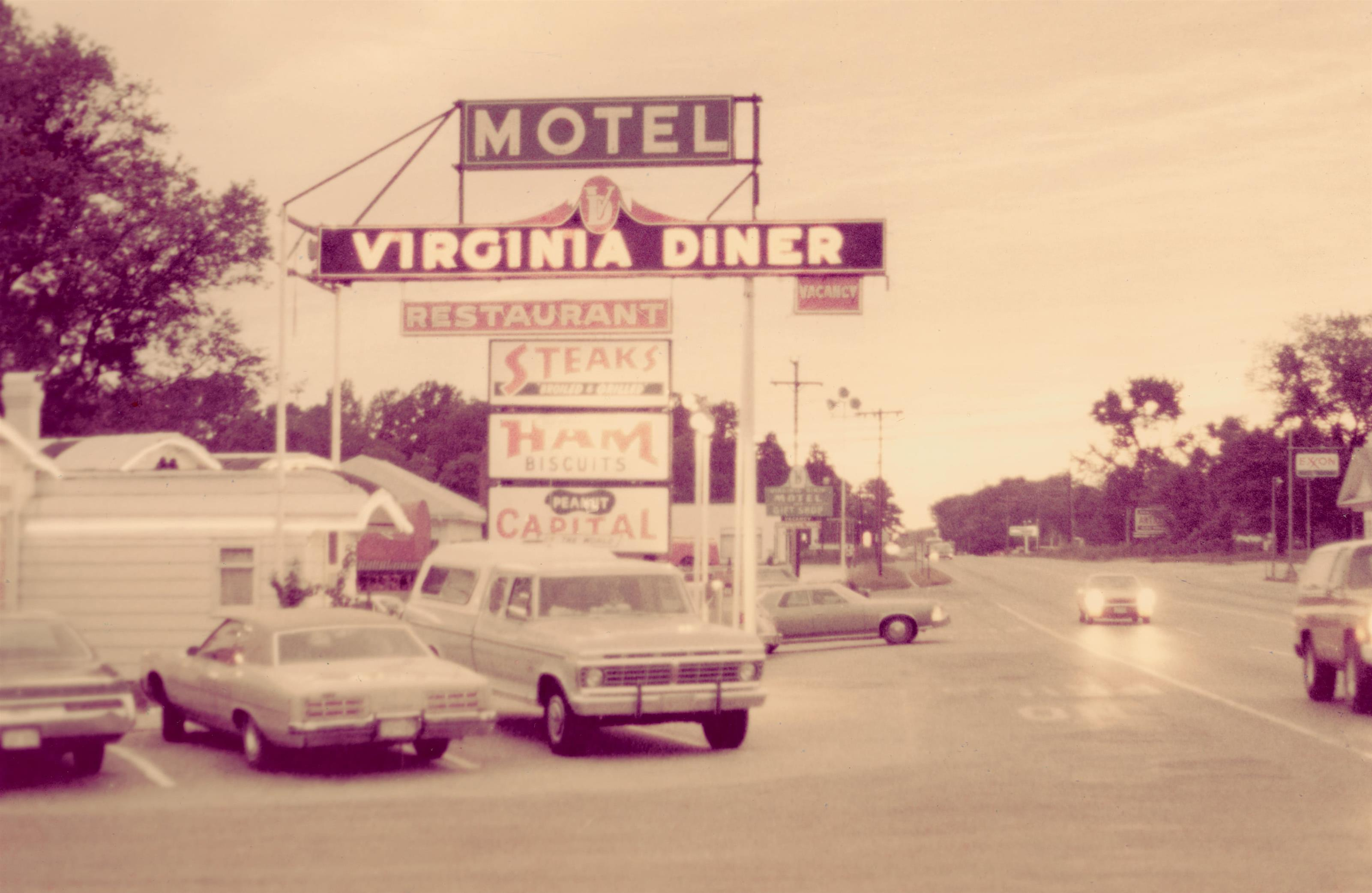 A vintage photo of the outside of The Virginia Diner.