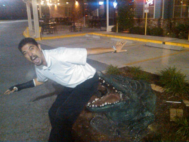 man posing pretending to be bit by a fake alligator