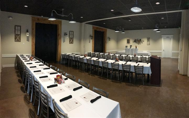 long tables set for banquet