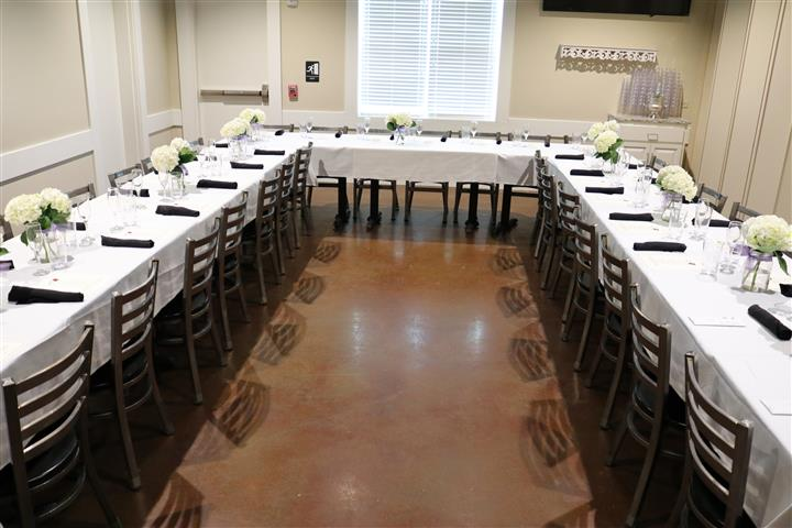 long table set for banquet