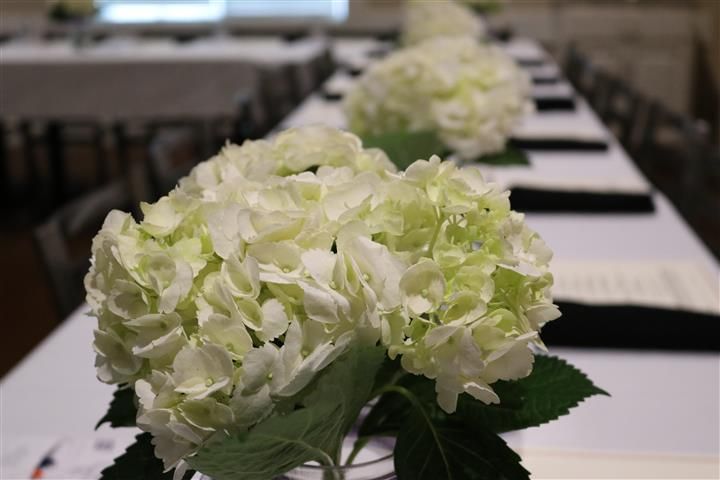 closeup of flowers on top of long table set for banquet