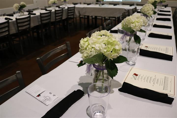 long rectangular table set for banquet