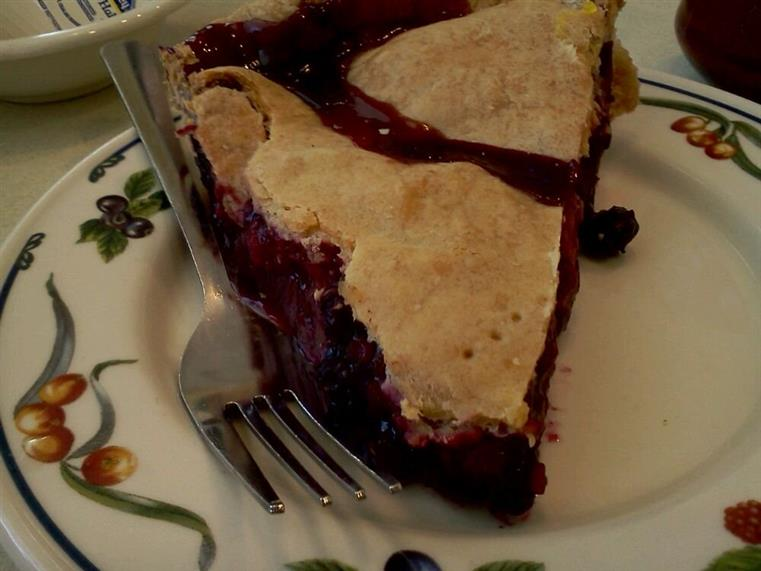 Slice of blueberry pie on fancy dish with fork