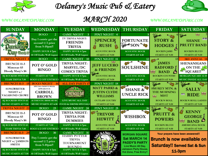Delaney's Music Pub & Eatery – March 2020