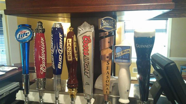 Variety of Beer Taps offered at the bar