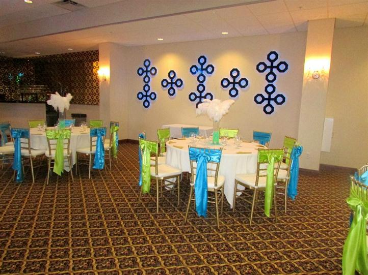 two round tables decorated for a birthday party