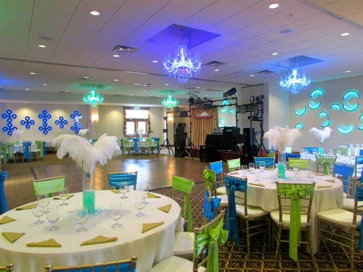 large banquet room decorated for birthday party
