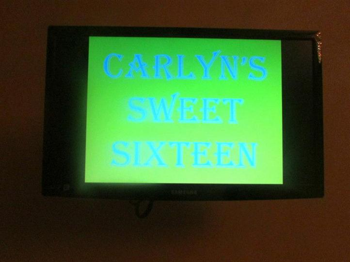sign that reads carlyn's sweet sixteen