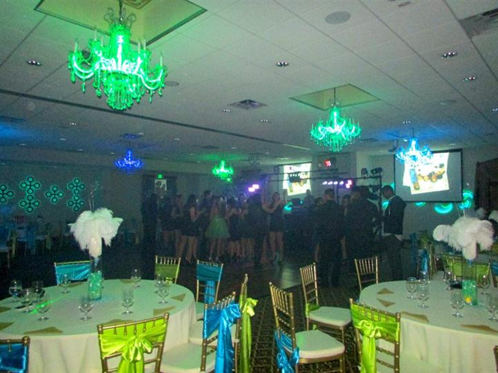 banquet room decorated for birthday party