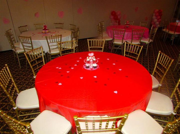 round table with heart-shaped decorations