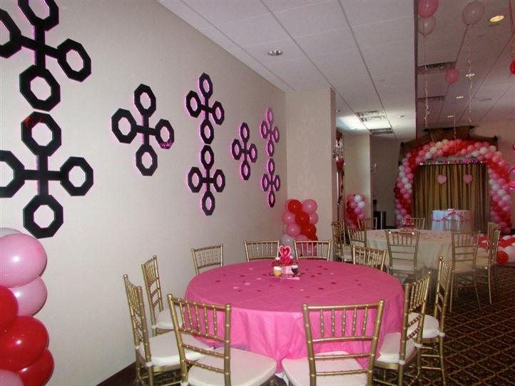 several round tables with heart-shaped decorations