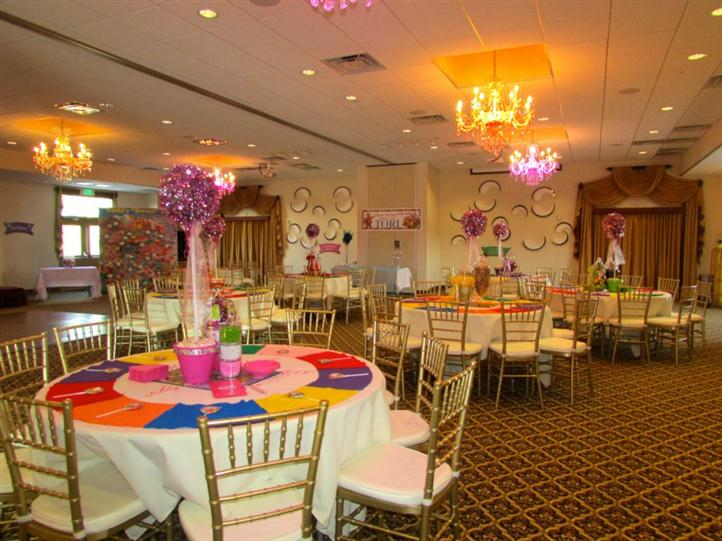 several round tables decorated for birthday party