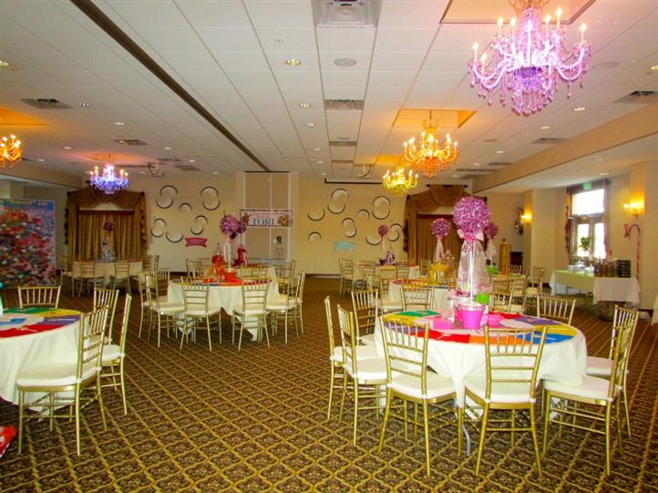 banquet room with tables for birthday party