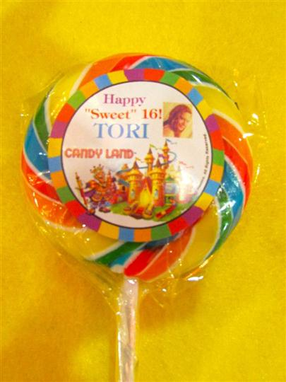 "large sucker that reads happy ""sweet"" 16! tori candy land"