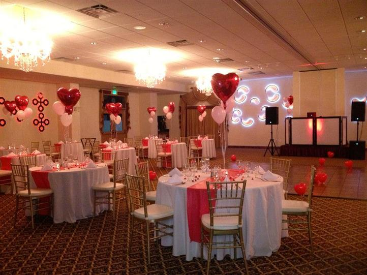 table decorated for valentine's day