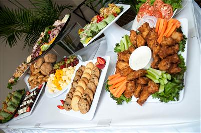 assortment of food on buffet table