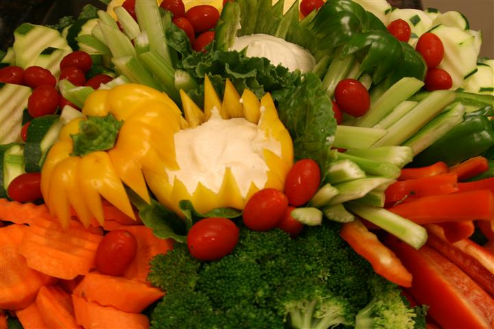 Vegetables platter with a multitude of vegetables