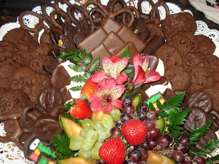 Dipped chocolate treats and fruits