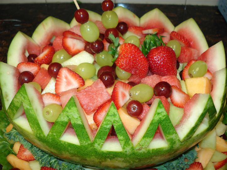 Watermelon bowl filled with fruits