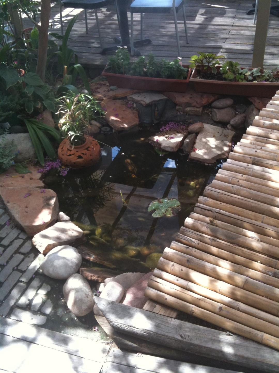 Outdoor deck with small pond next to bamboo bridge