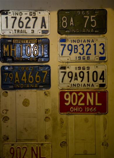 Vintage license plate wall decoration