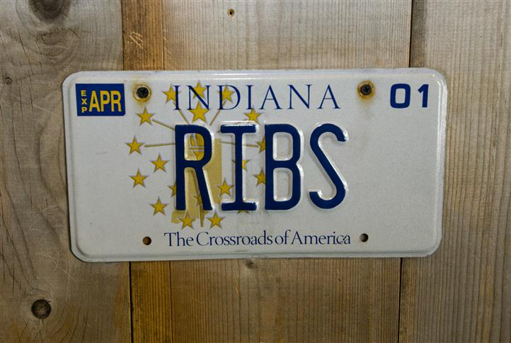 Ribs Indiana license plate