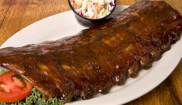 Ribs with a side of coleslaw