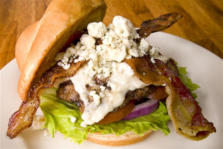 Bacon cheese burger with blue cheese crumbles