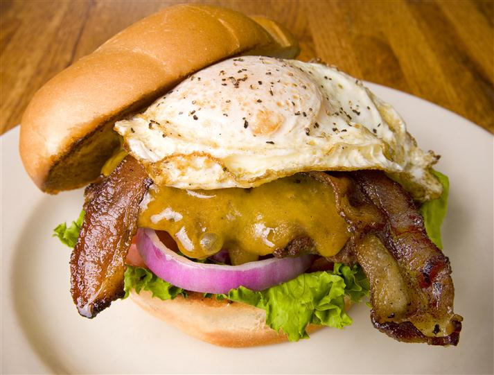 Egg and bacon cheese burger