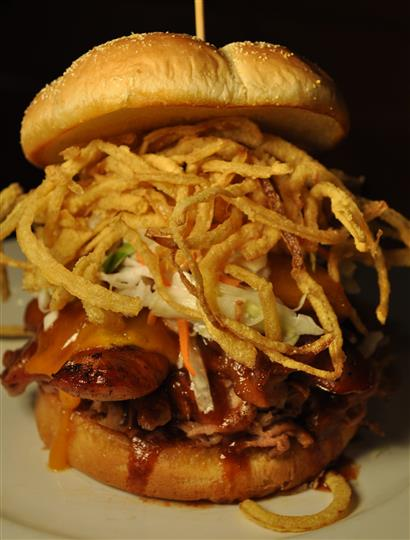 Bacon cheese burger with fried strips
