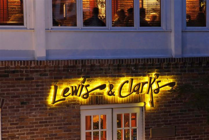 Lewis and Clarks front entrance with sign