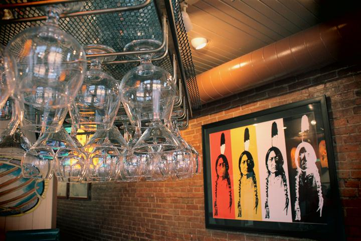 Glasses hanging from the ceiling