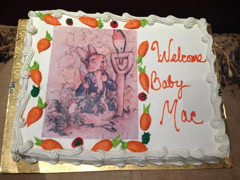 "Special cake with rabbits saying ""Welcome Baby Mae"""