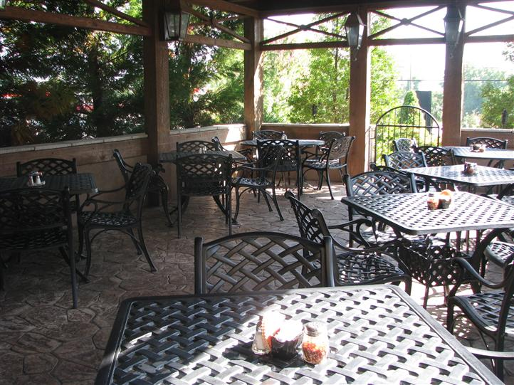patio with tables and chairs