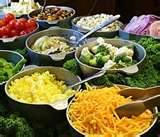 salad bar with various toppings