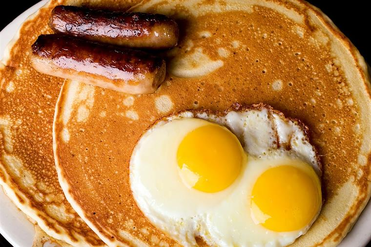 Pancake with egg and sausage