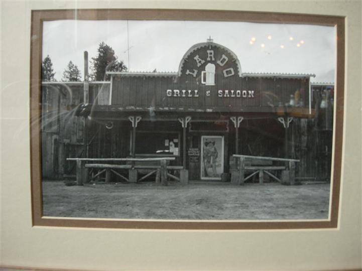Outdoor black and white photo of Lardo's Grill & Saloon