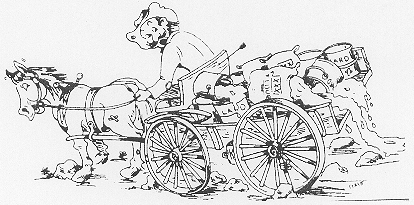 A black and white drawing of a man on a horse carriage which is full of baskets and sacks
