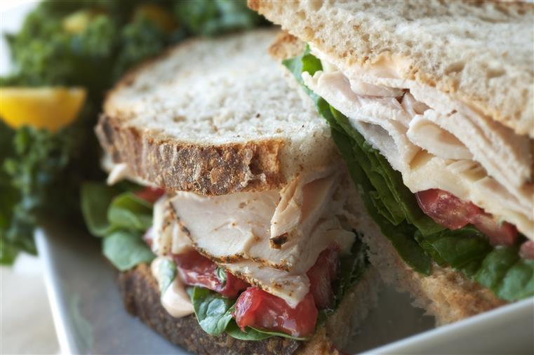 turkey sandwich cut in half