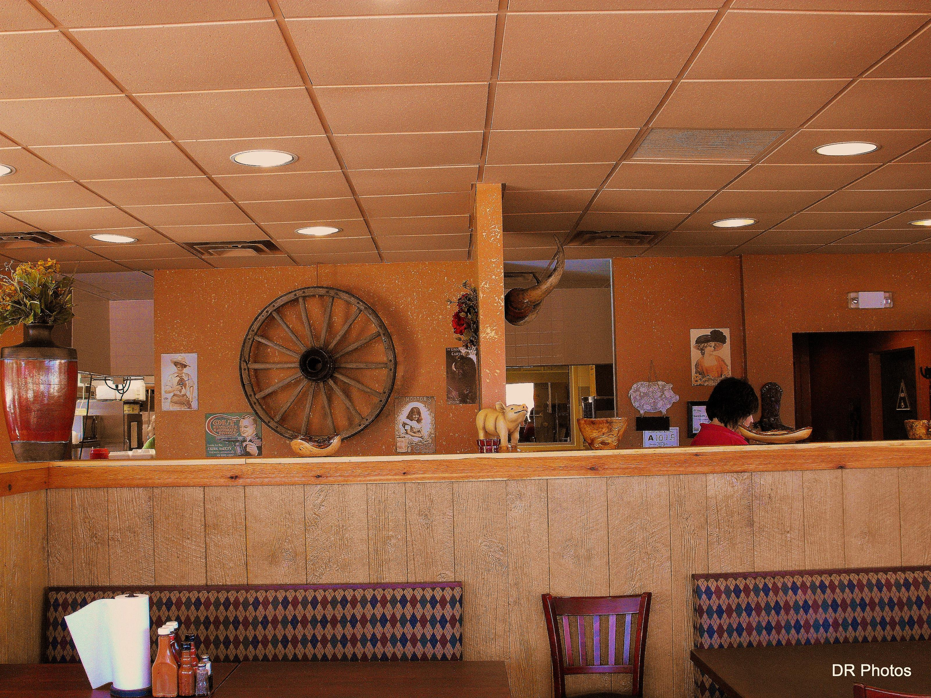 interior of hannah's bbq showcasing all rustic decorations on the walls
