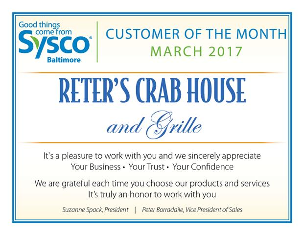 Customer of the Month_March 2017_Reters Crab House