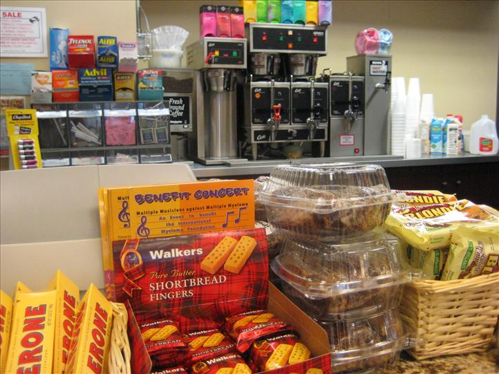 Assorted cookies, candy, medications shown near coffee machine