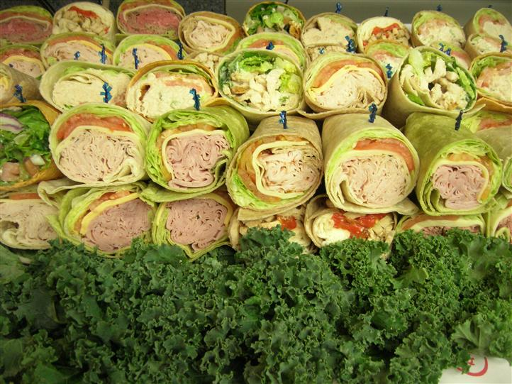 Wrap halves stacked on each other for an event