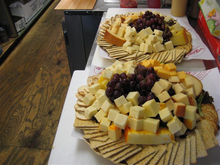 Cheese and crackers on a platter for an event