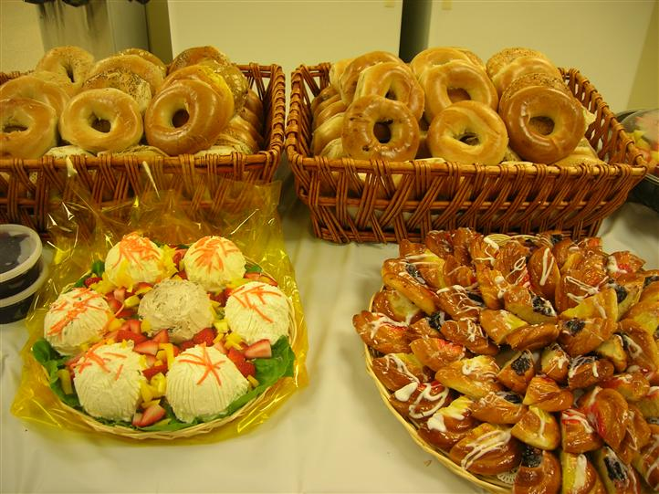 Bagels and dipping sauce on a catering table