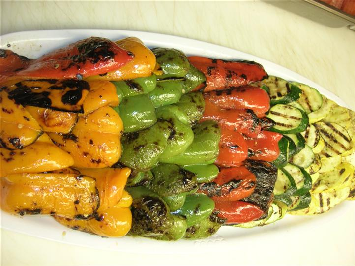 Grilled vegetables on a platter