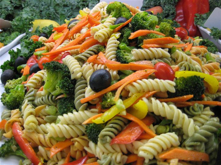 Pasta and vegetables on a platter