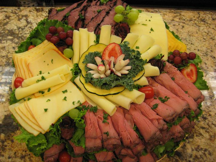 Meat and cheeses on a platter
