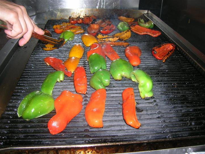 Peppers on a grill