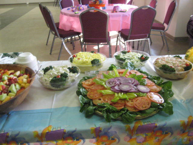 Vegetable platter on a catering table